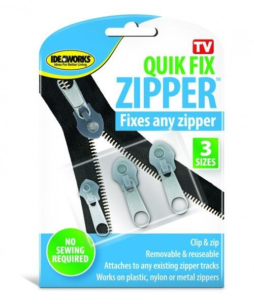 3 qwik fix zippers replace any instantly astv coat luggage purse bags ideaworks ebay. Black Bedroom Furniture Sets. Home Design Ideas