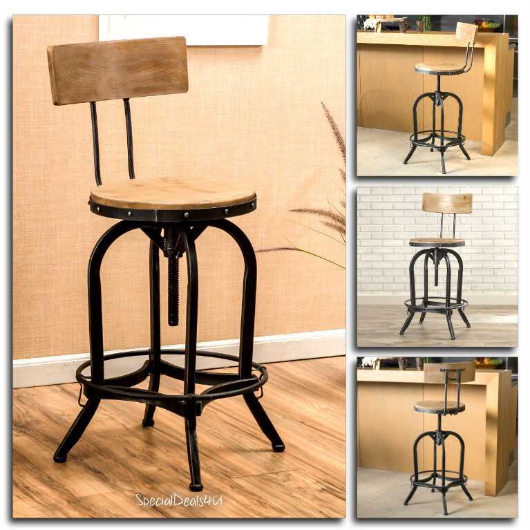 Swivel Bar Stool Wood Metal Industrial Chair Adjustable
