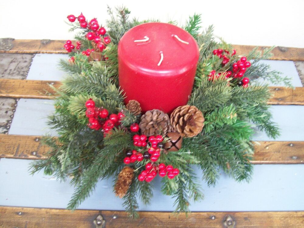 Red wick candle pine cone berries jingle bells wood bowl