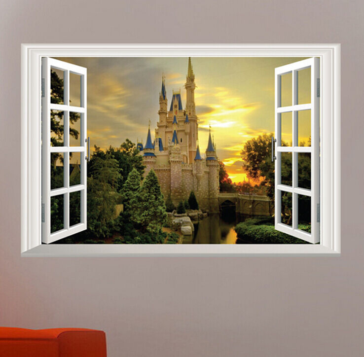 3d castle tower window view removable wall stickers art for Castle window mural