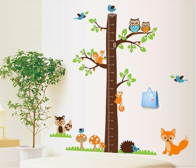wandtattoo wandaufkleber xxxl eule wald tier messlatte fuchs kinderzimmer baum ebay. Black Bedroom Furniture Sets. Home Design Ideas