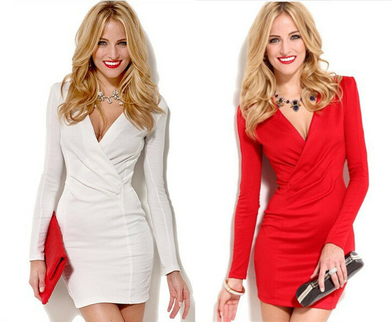 7d36826a62 Details about Sexy Womens Deep V Neck Long Sleeve Party Stretch Tunic  Bodycon Mini Wrap Dress