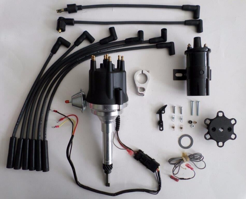 small cap chevy inline 6 cylinder 235 black hei distributor 45k coil wires ebay. Black Bedroom Furniture Sets. Home Design Ideas