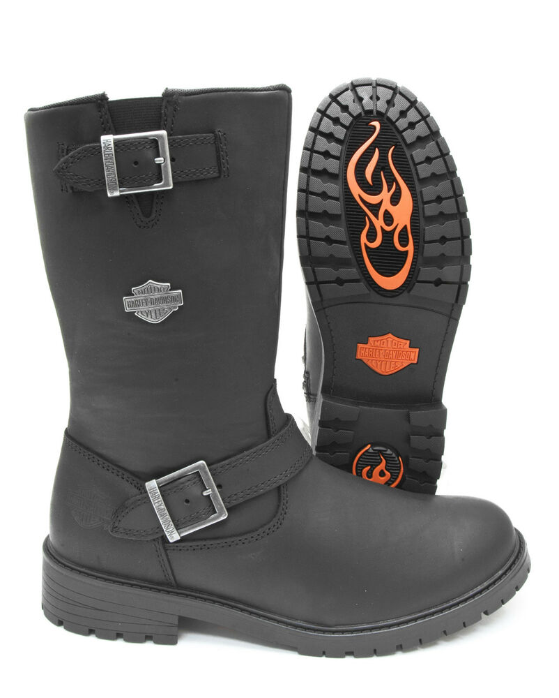 Harley Davidson Boots Black Leather Randy Buckle Zippered ...