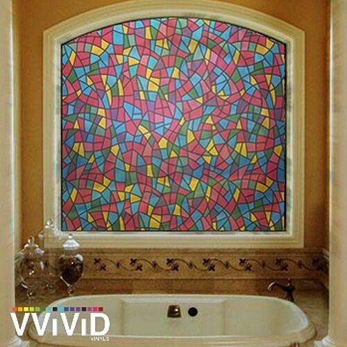 Stained glass 36 x 6ft home window vinyl film privacy for Vinyl window designs