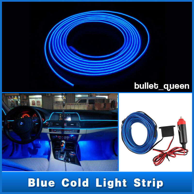 3m blue el wire 12v car interior decor fluorescent neon. Black Bedroom Furniture Sets. Home Design Ideas
