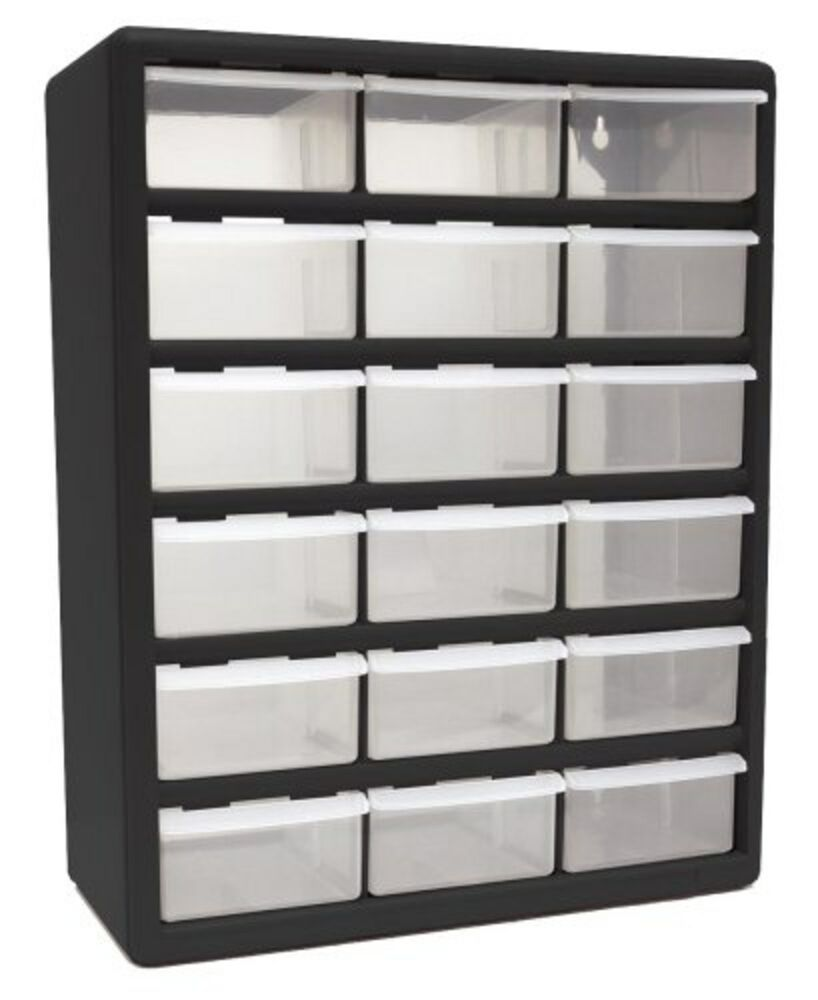 18 drawer plastic parts organizer storage bedroom boxes - Bedroom storage cabinets with drawers ...