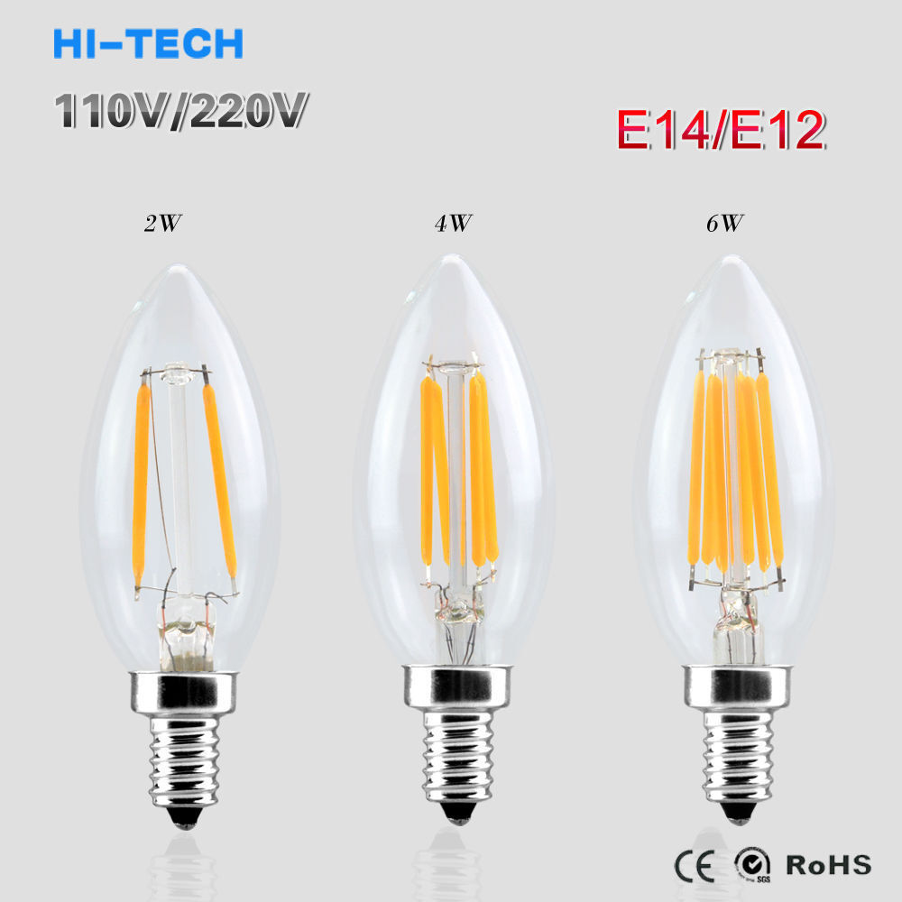 e12 e14 2 4 6w low energy saving filament bulb led candle light lamp ebay. Black Bedroom Furniture Sets. Home Design Ideas