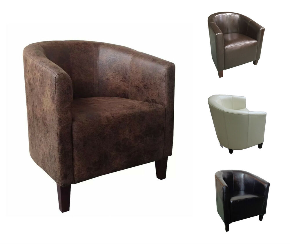 Luxury Leather Tub Chair Armchair For Dining Living Room