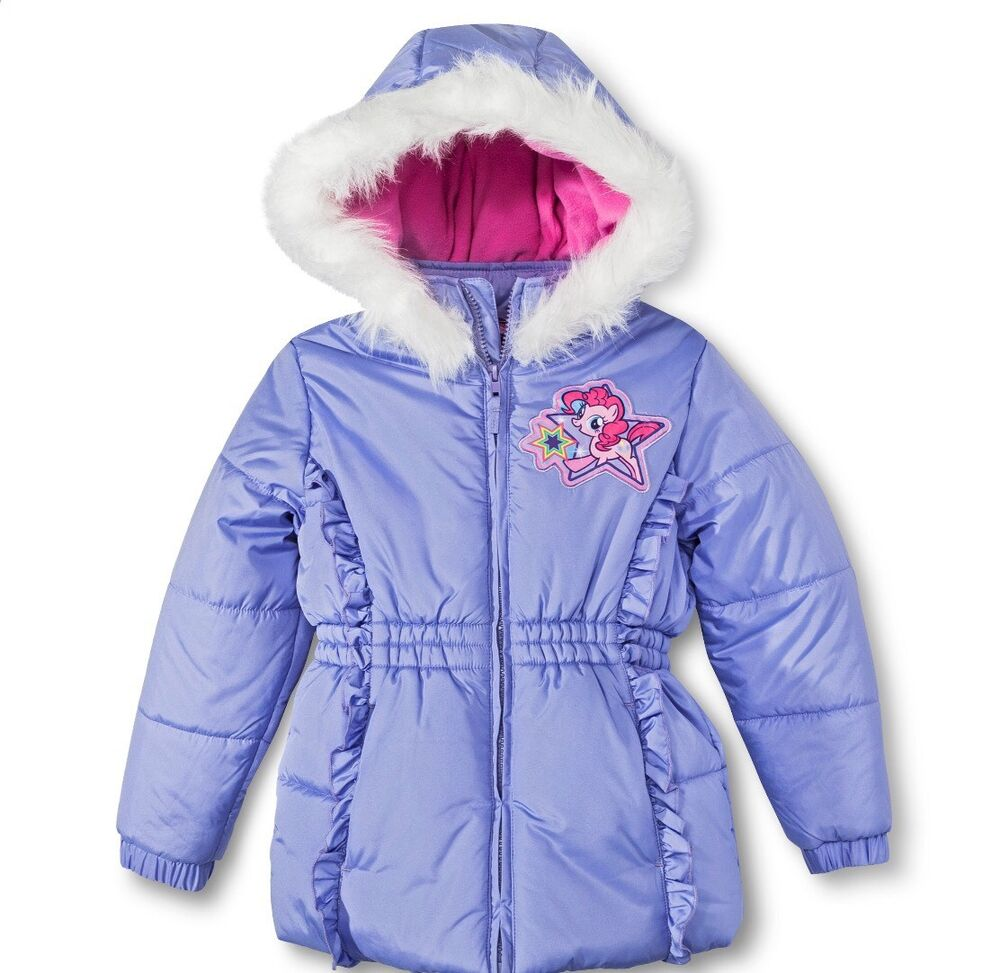 3e122a0212a My Little Pony Girls Winter Coat with Faux Fur Hood .