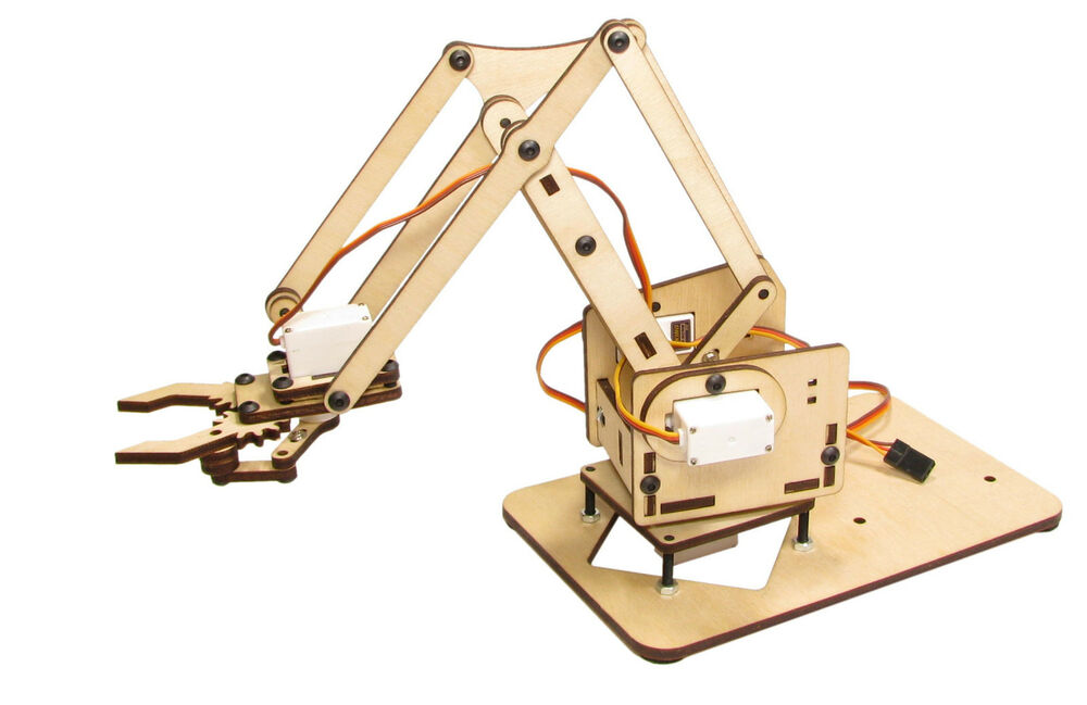 Mearm mini robotic factory arm deluxe servo wood