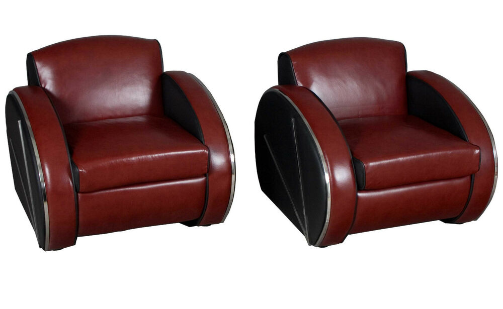 new pair of red leather retro art deco streamline moderne arm chairs chrome ebay. Black Bedroom Furniture Sets. Home Design Ideas