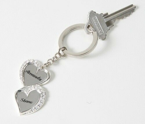 personalized silver heart with rhinestone keychain name custom engraved free ebay. Black Bedroom Furniture Sets. Home Design Ideas
