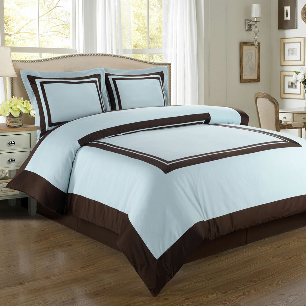 Royal Tradition Hotel Blue And Brown Egyptian Cotton Duvet