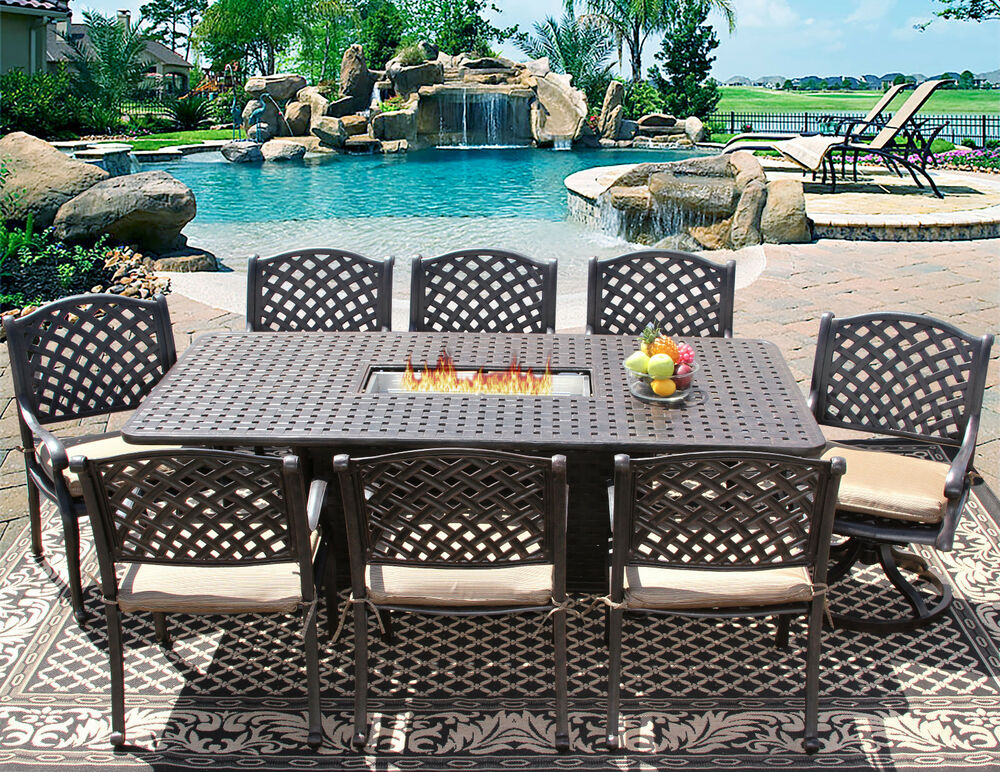 9 Pc Patio Outdoor Aluminum Dining Set 8 Person With