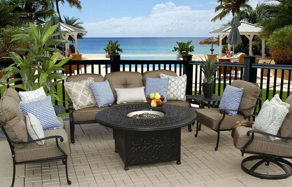 7 Pc Patio Deep Seating Set 52 Quot Round Fire Pit With End