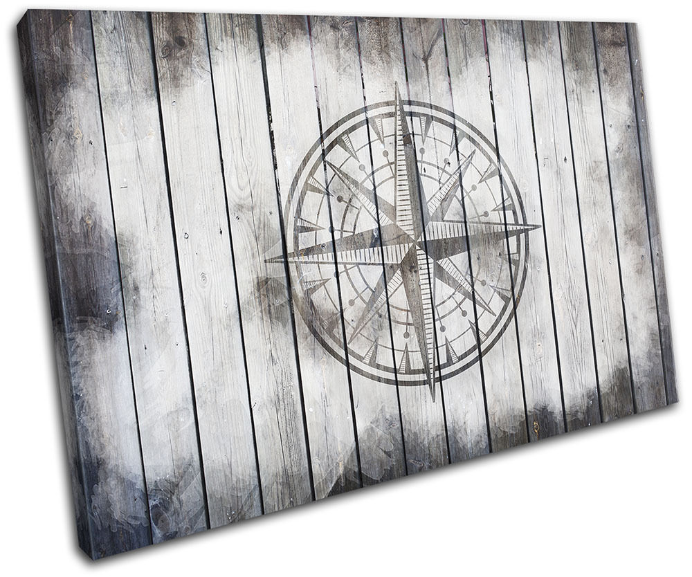 Compass shabby chic vintage single canvas wall art picture for Shabby chic wall art