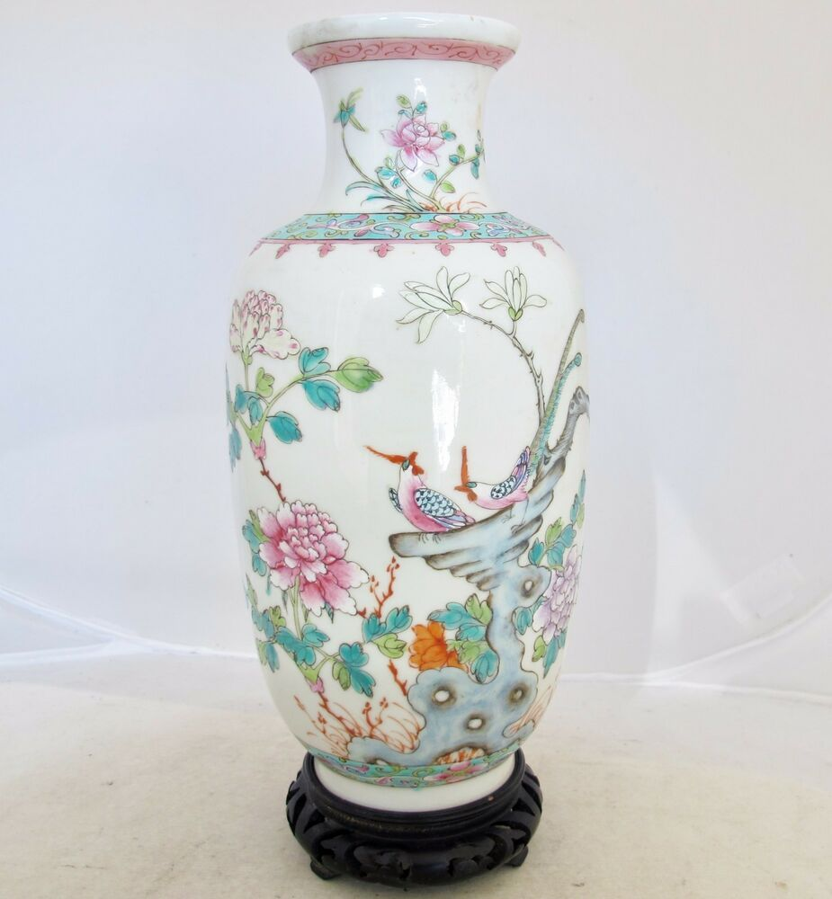"Flowers Made Black Brids: 9.2"" Antique Chinese Famille Rose Porcelain Vase With"