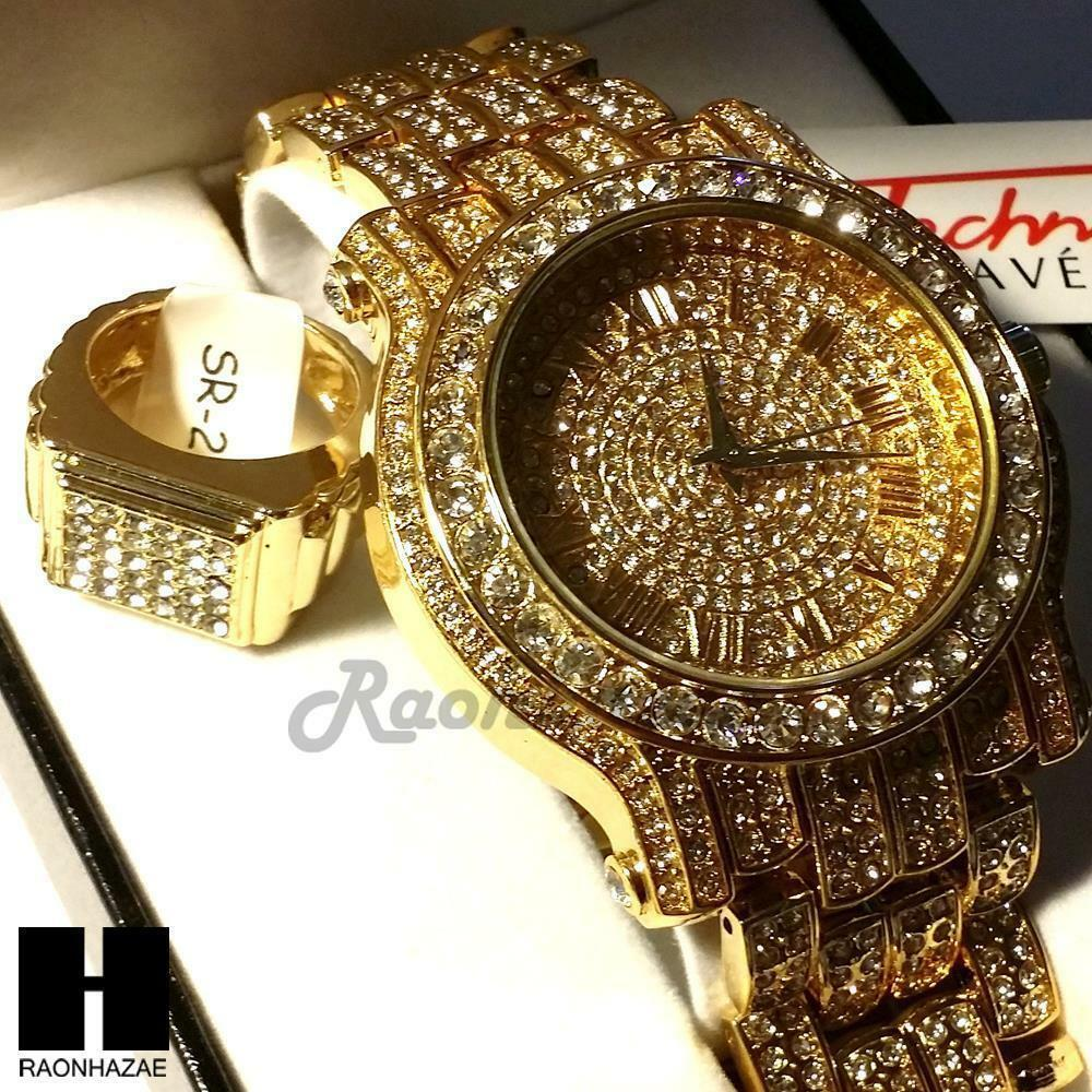Pave hip hop iced out rapper gold finished simulated diamond watch ring set01g ebay for Watches diamond