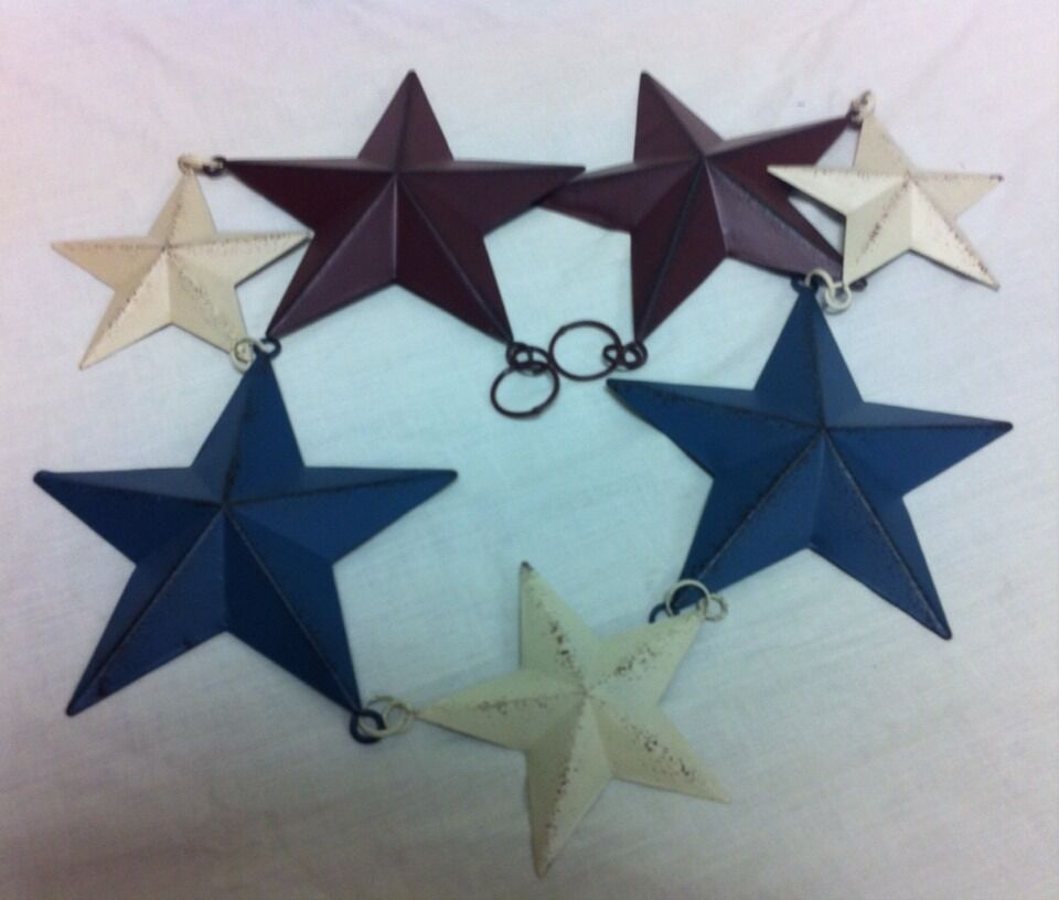 New 39 primitive metal star garland americana 4th of july for Barn star decorations home