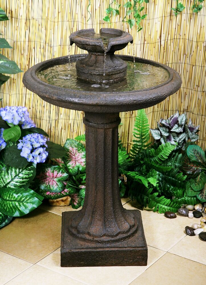 Maleda bird bath water fountain feature garden yard for Fontaine jardin decoration exterieure