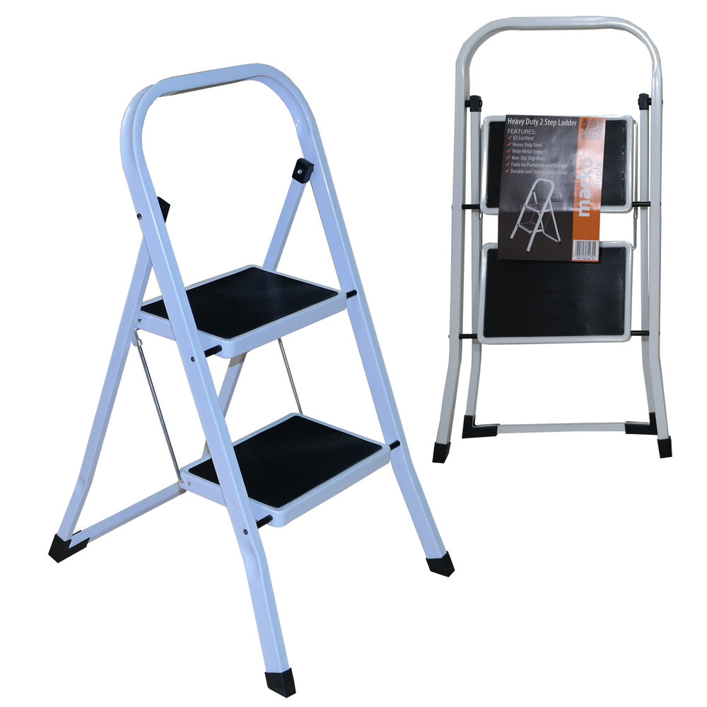 2 Step Ladder Heavy Duty Folding Non Slip Tread Portable