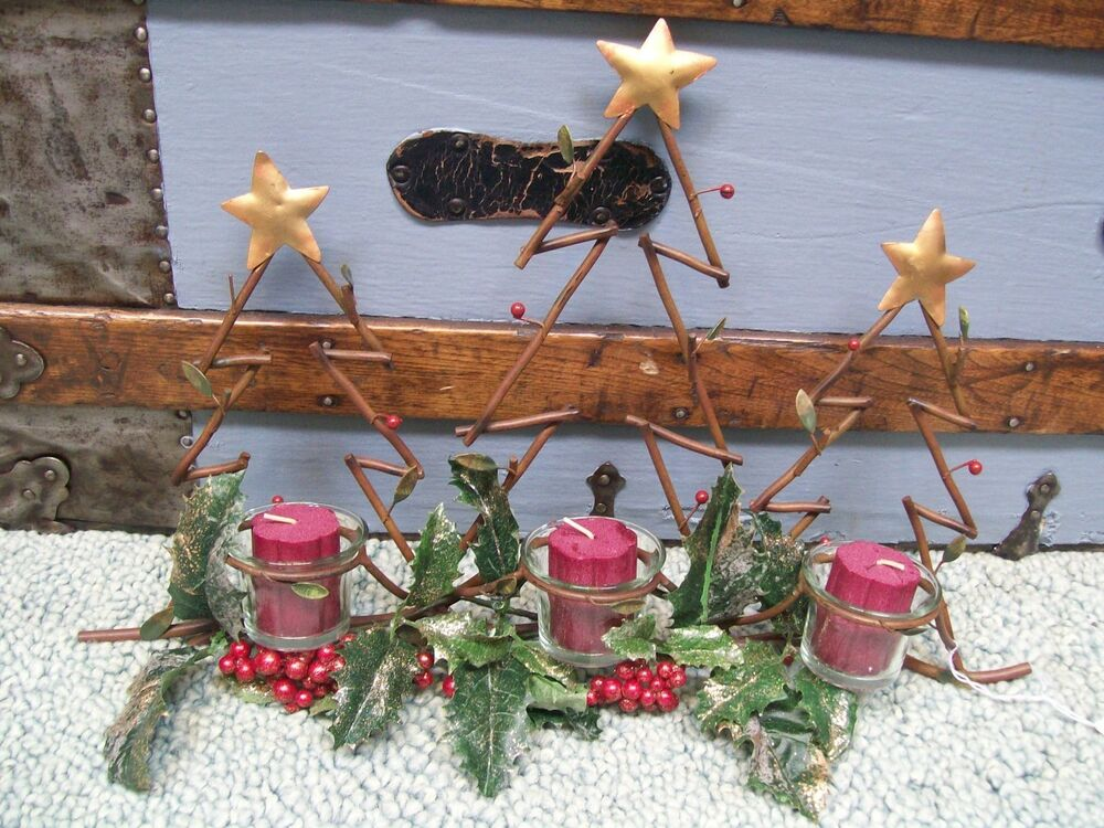 3 Votive CANDLE Glass Metal CHRISTMAS WALL DECOR Gold Star