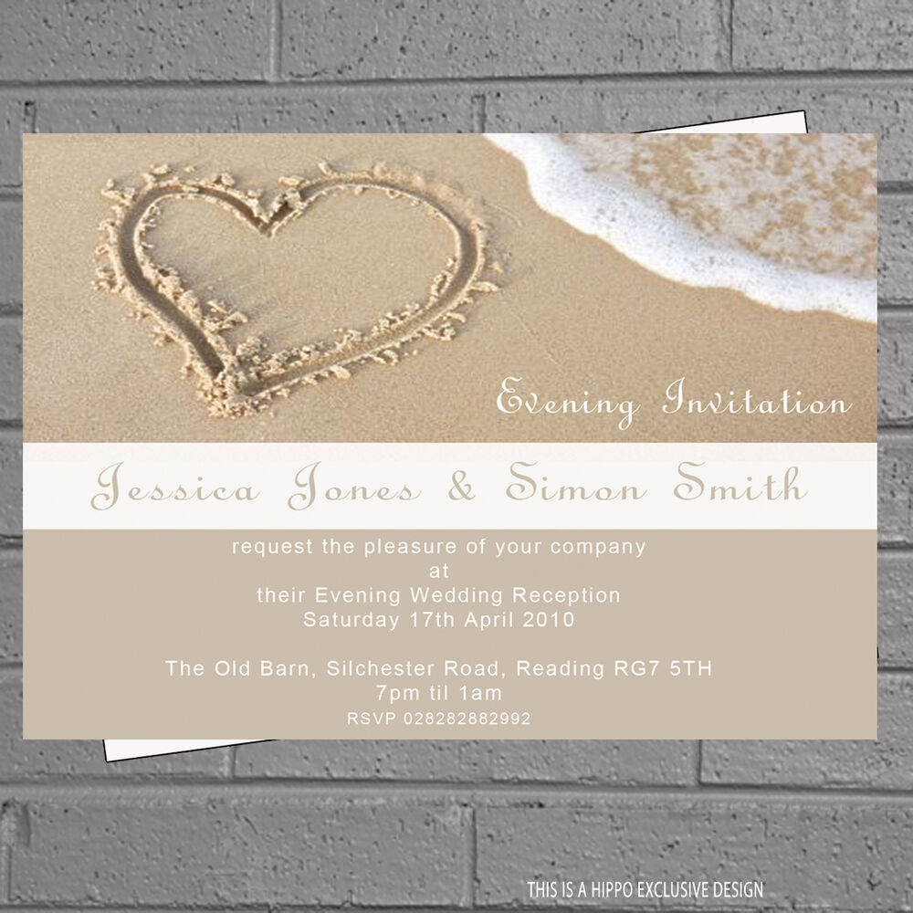 Heart in the Sand Beach Wedding Evening Day Reception Invites x 12 + ...