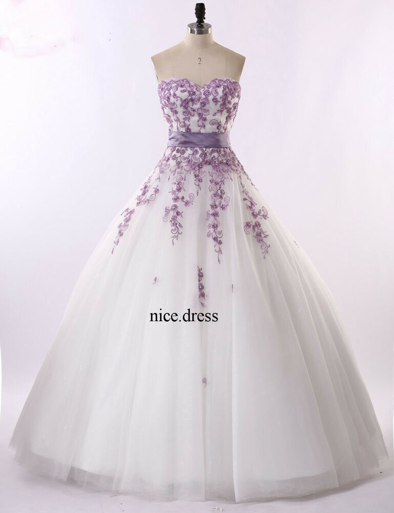 New White And Purple Wedding Dresses Organza Ball Gowns Custom Size Best Price