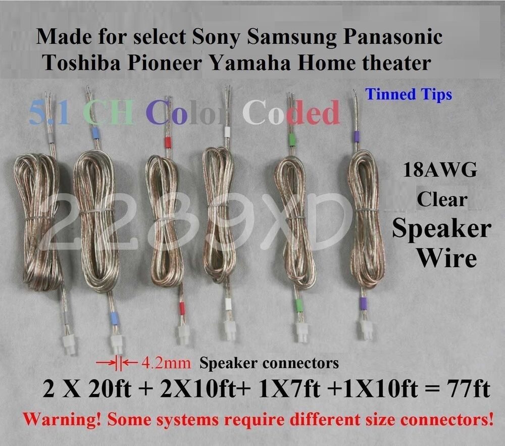 6 Speaker Wires 77ft 42mm Made For Select Sony Panasonic Samsung Yamaha M7 Wiring Home Theater 708981172296 Ebay