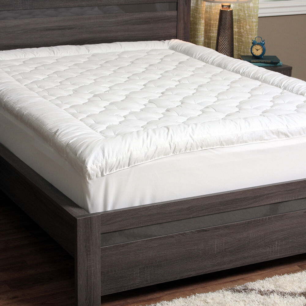 Quilted pillow top mattress pad bed cover topper bedding for Best down mattress pad