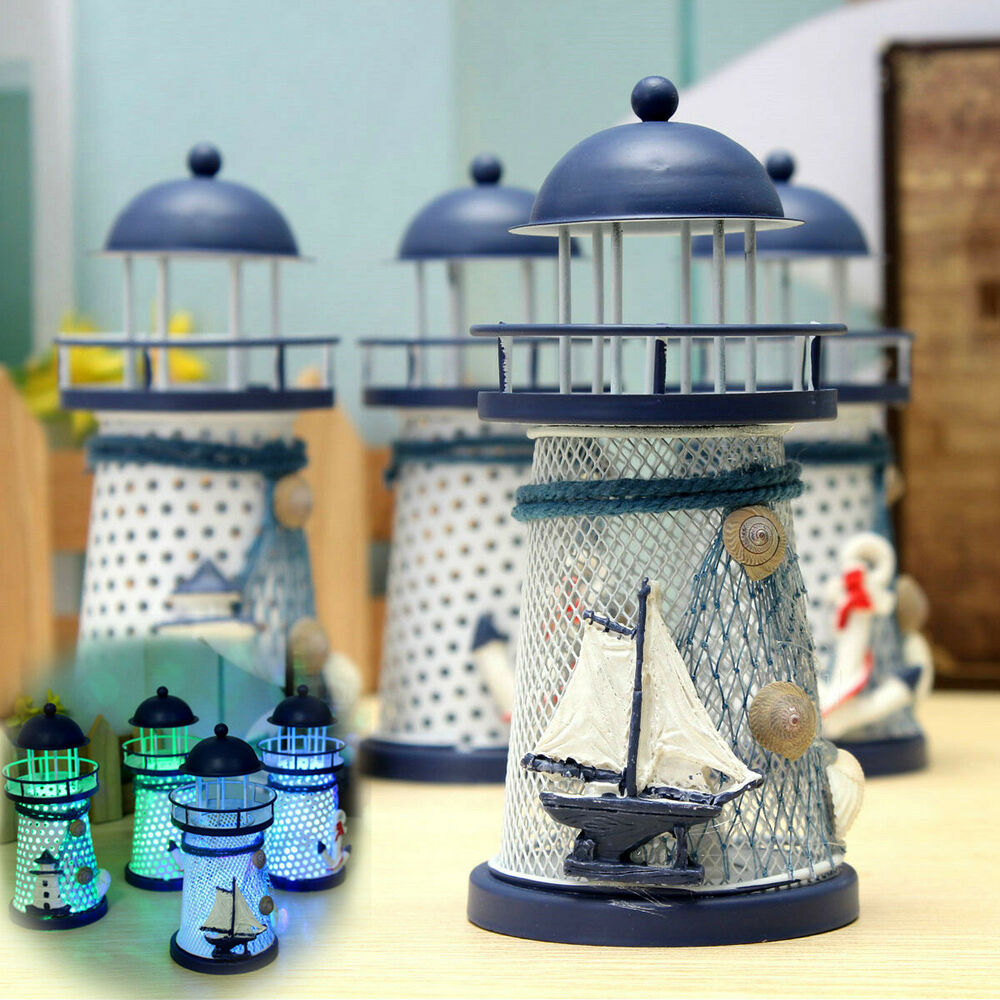 Home Table Decor: Mediterranean Lighthouse Iron Candle LED Light Sailboat