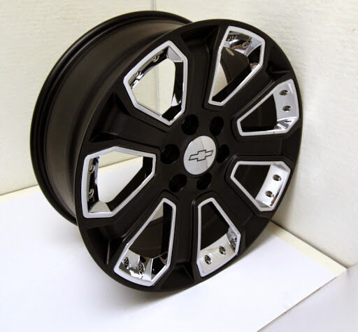 New 20 inch Chevy Satin Black with Chrome Inserts Wheels ...