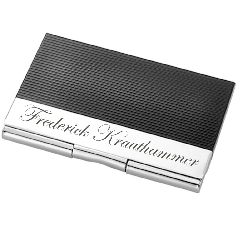 Personalized black silver striped business card holder for Personalized business card holder for men