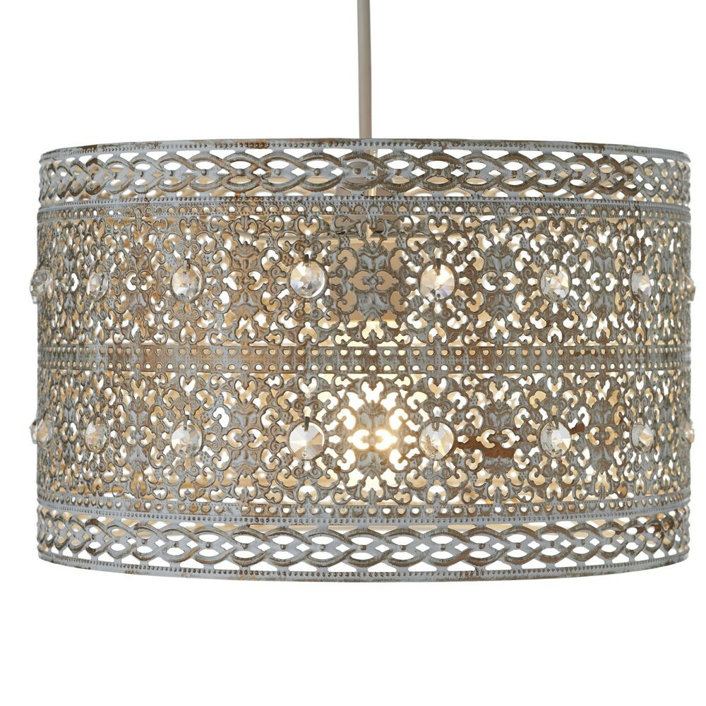 Large Metal Lamp Shade: Vintage Large Jewel Pale Gold Moroccan Style Ceiling Light