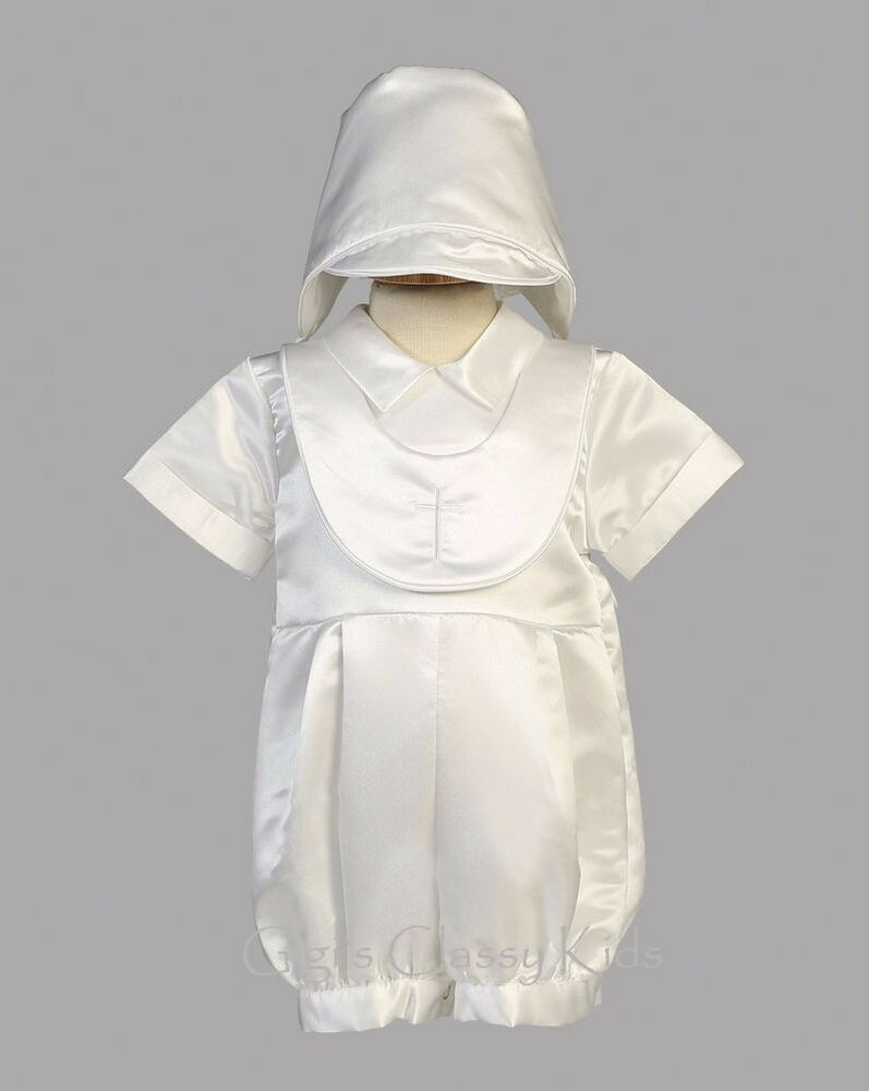 New Baby Boys White Satin Romper Suit Outfit Set Hat