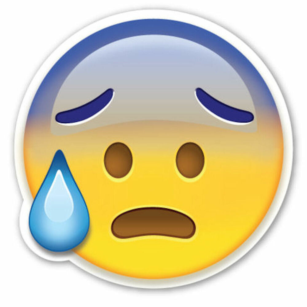 Framed Emoji Print - Worried with Sweat Face (Picture ...