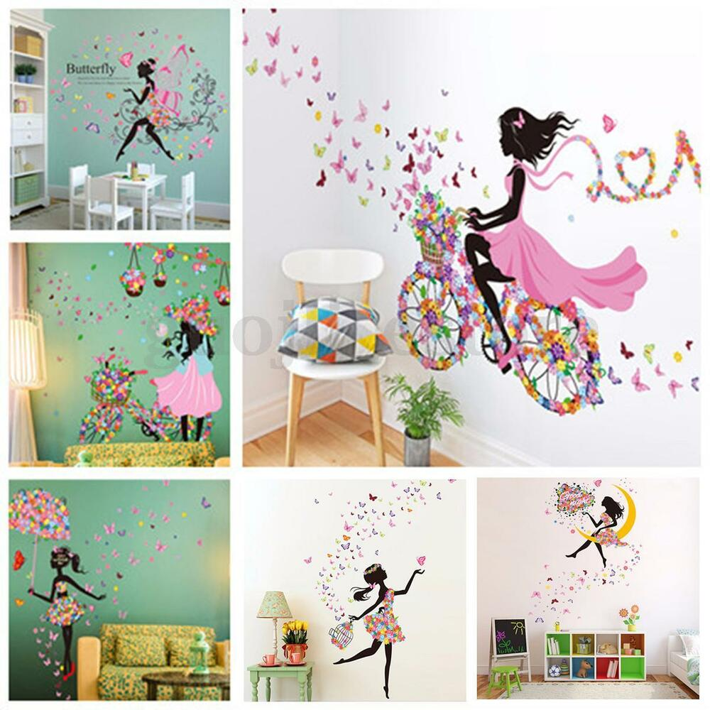 Cute flower girl removable wall sticker vinyl decal kids - Childrens bedroom wall stickers removable ...