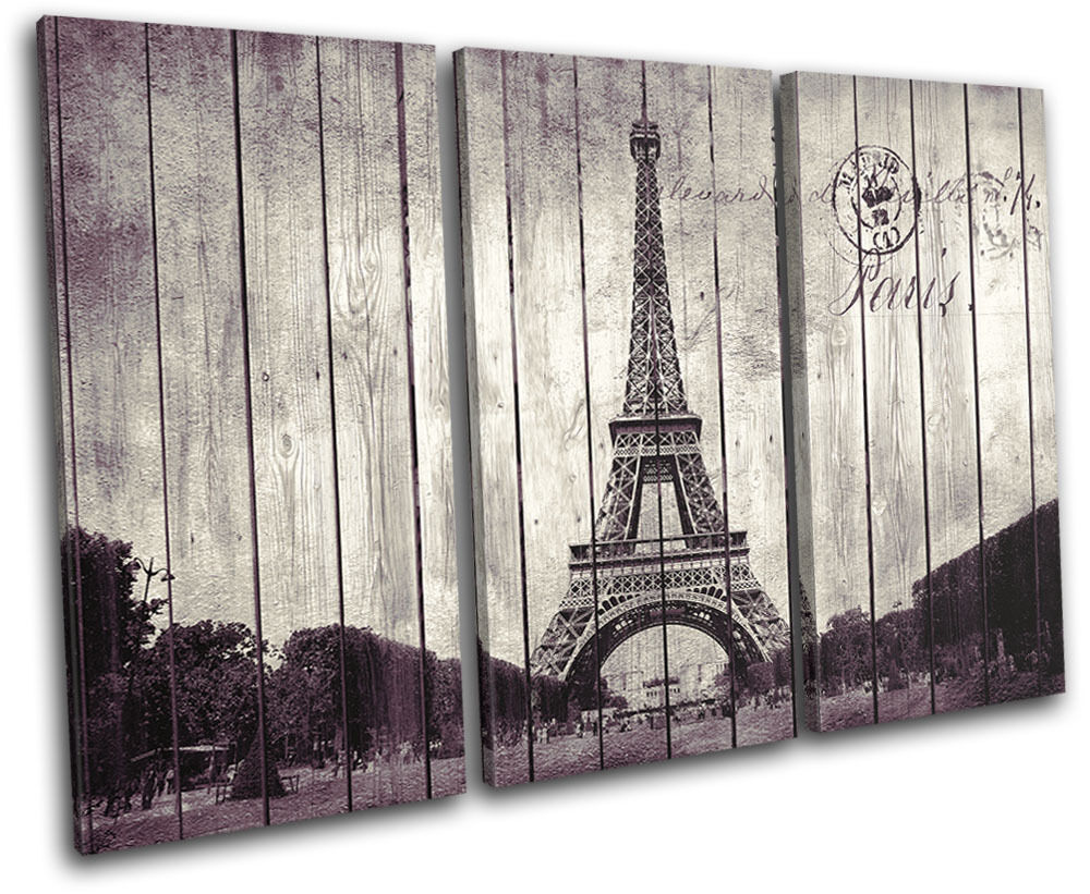 Wall Art Canvas Shabby Chic : Shabby chic paris eiffel city treble canvas wall art