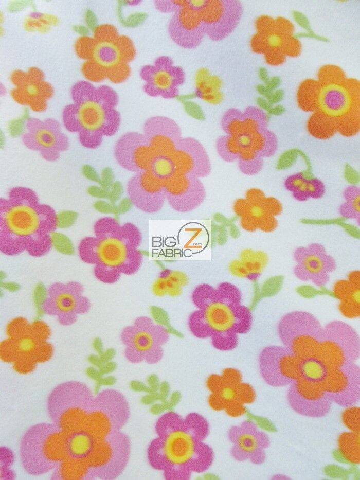 floral harmony white fleece printed fabric sold by the yard 995 warm blanket ebay. Black Bedroom Furniture Sets. Home Design Ideas
