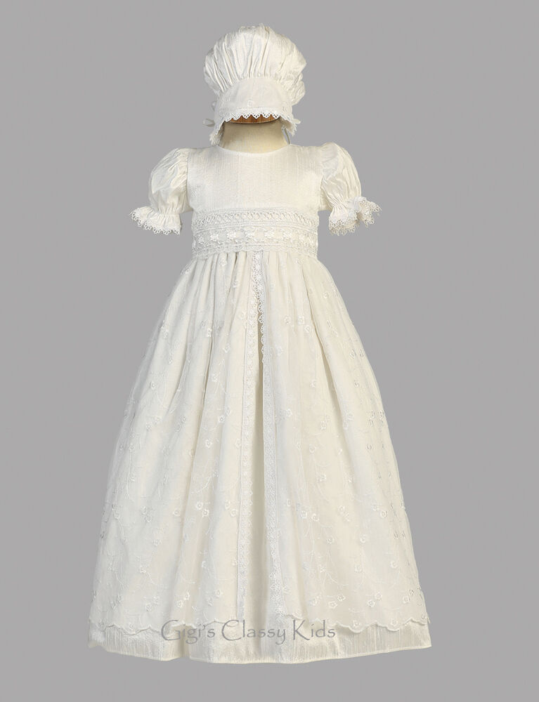 New baby girls white silk tulle gown dress bonnet for Making baptism dress from wedding gown