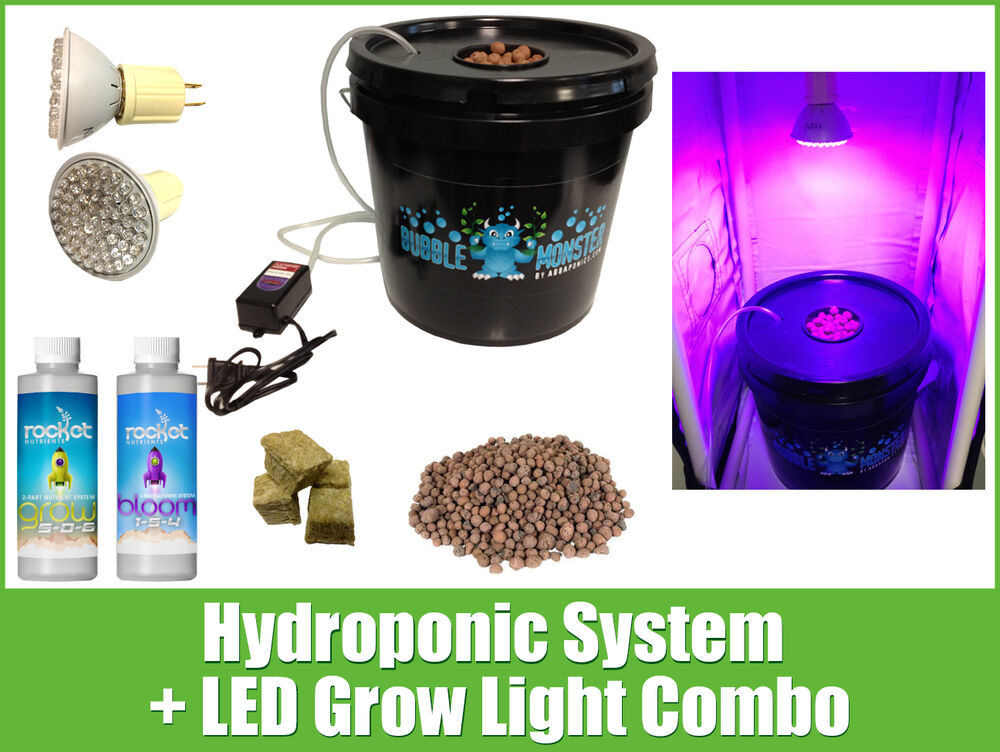 hydroponic system led combo complete grow system dwc hydroponic kit ebay. Black Bedroom Furniture Sets. Home Design Ideas