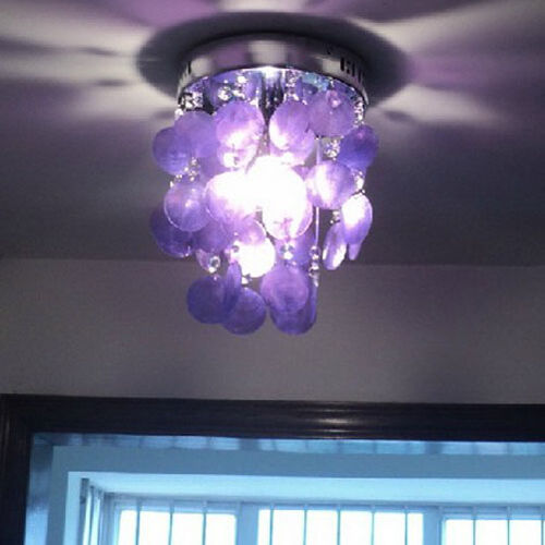 Purple crystal shell chandelier ceiling light lamp fixture for Ebay living room lights