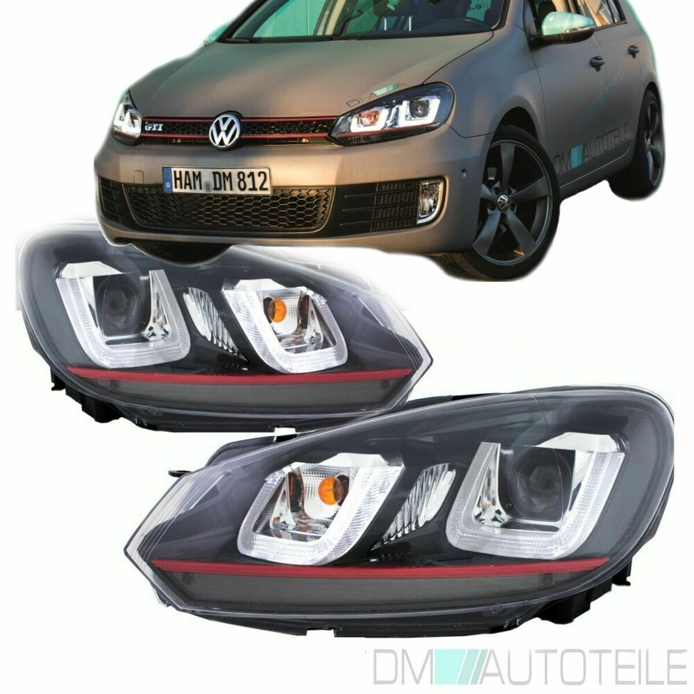 2x vw golf 6 vi scheinwerfer set 08 12 rote leiste 3d tfl. Black Bedroom Furniture Sets. Home Design Ideas