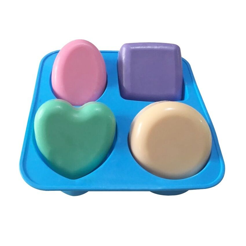 4 Cavity Round Square Oval Heart Shape Soap Silicone Mold