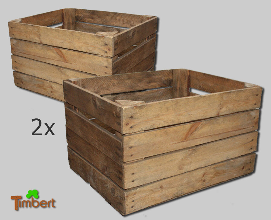 2 x alte rustikale massive holzkisten obstkiste weinkiste deko kiste regal holz ebay. Black Bedroom Furniture Sets. Home Design Ideas