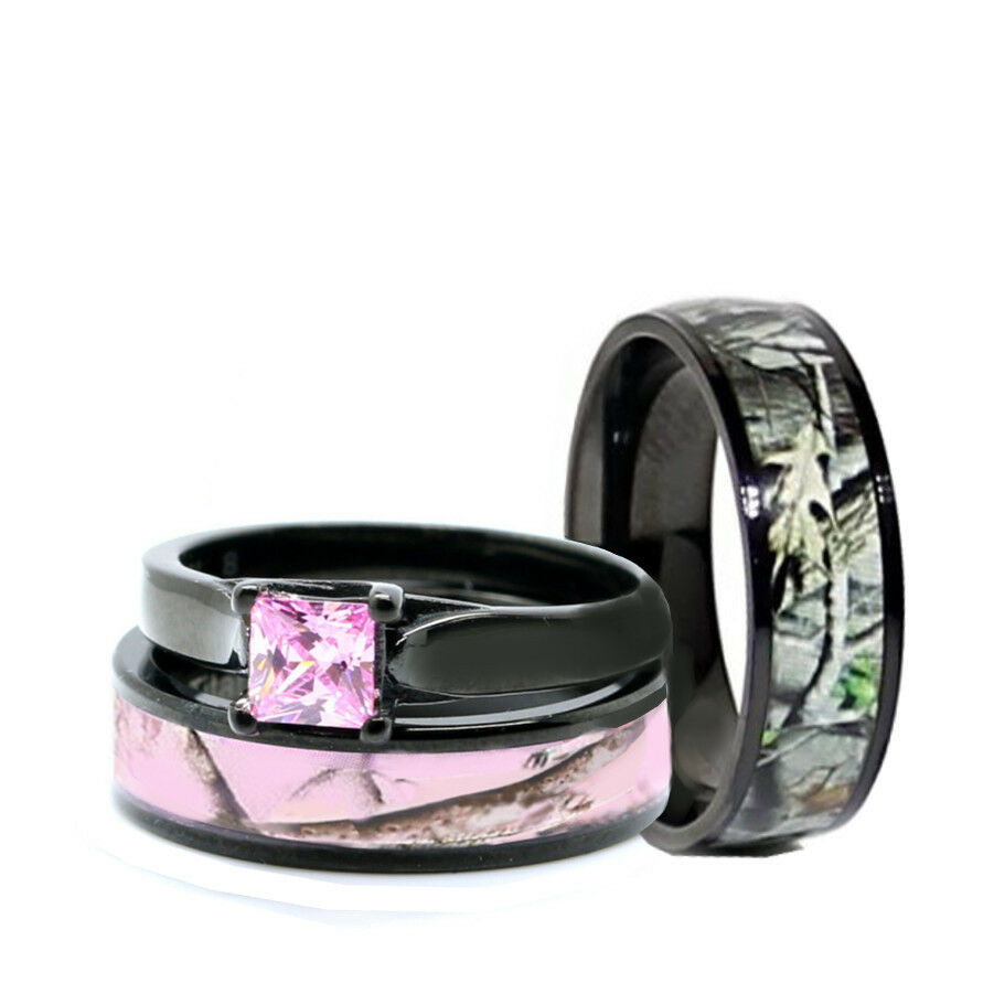 Pink Camo Wedding Rings: HIS Black Camo Band, HER Pink Titanium Engagement Wedding