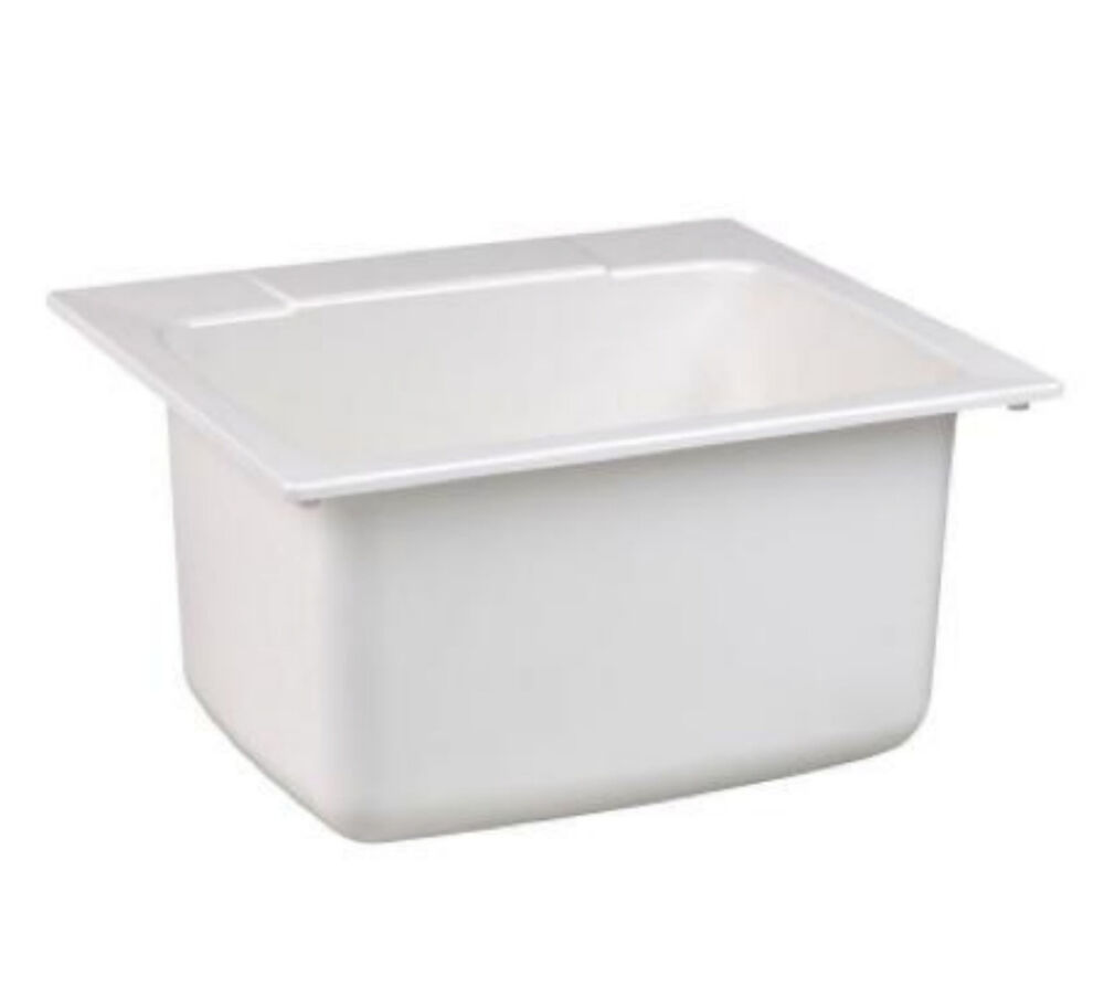 Laundry Basin Sink : ... Rimming Drop In Laundry Utility Room Sink Wash Basin Bowl Tub eBay