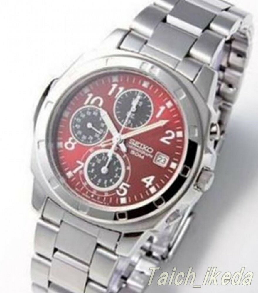 Seiko snd495p1 chronograph red dial men 39 s watch from japan ebay for Watches on ebay