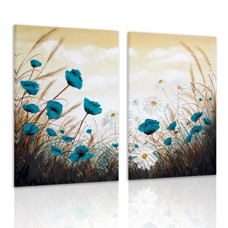 Modern canvas prints home decor wall art painting blue Decorating walls with posters